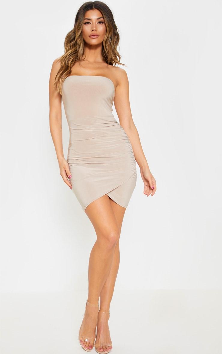 Stone Bandeau Wrap Bodycon Dress 4