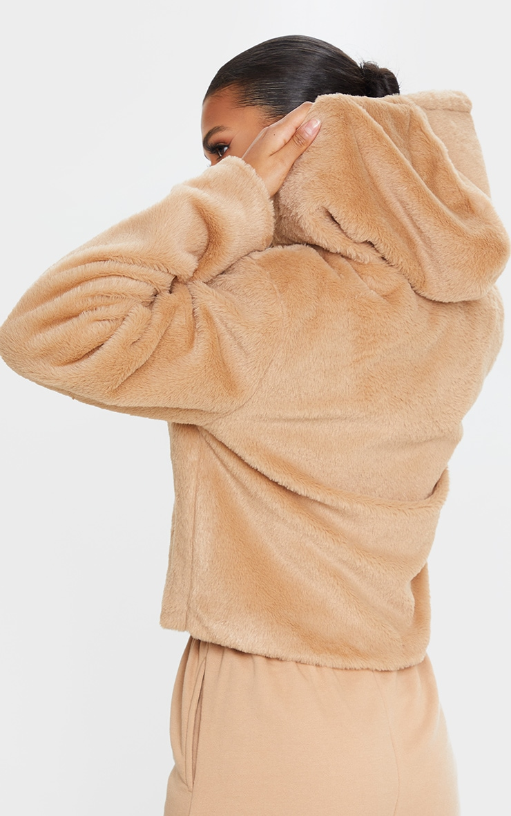 Taupe Faux Fur Cropped Hooded Jacket 2