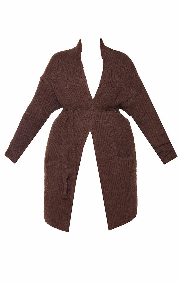 Plus Chocolate Ribbed Eyelash Knit Belted Cardigan 5