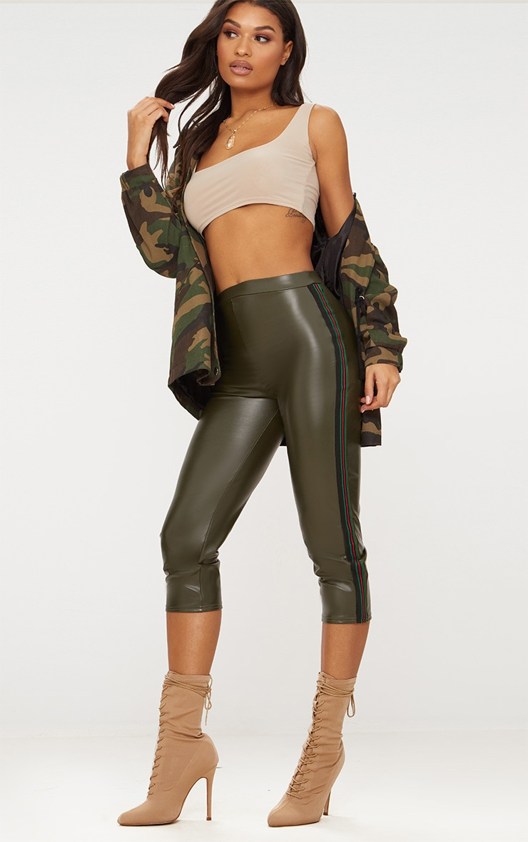 Khaki Faux Leather Sports Stripe Cropped Trousers 1