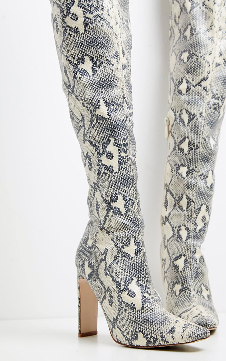 Snake Over The Knee Flat Heel Sock Boot  2