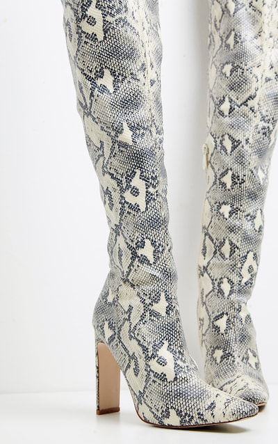 Snake Over The Knee Flat Heel Sock Boot