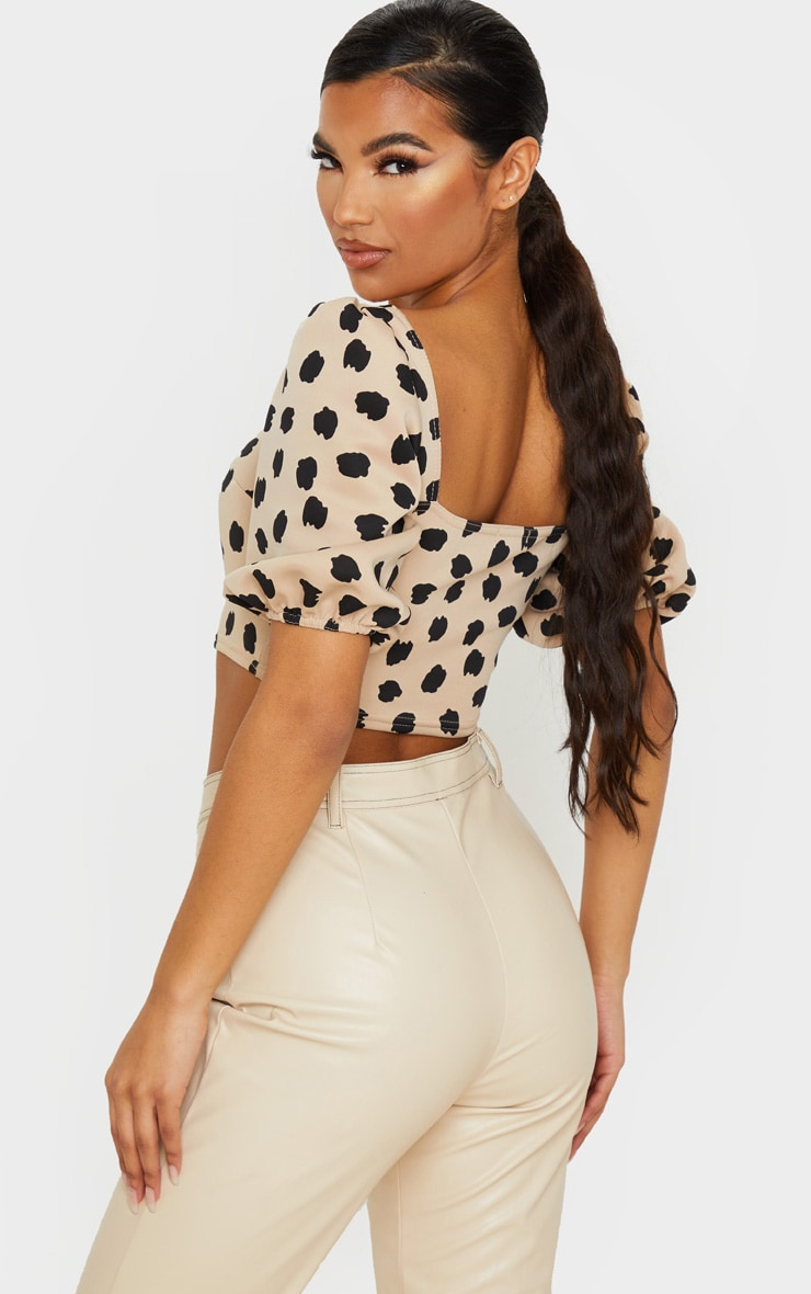 Tan Scuba Leopard Floral Print Short Puff Sleeve Crop Top 2