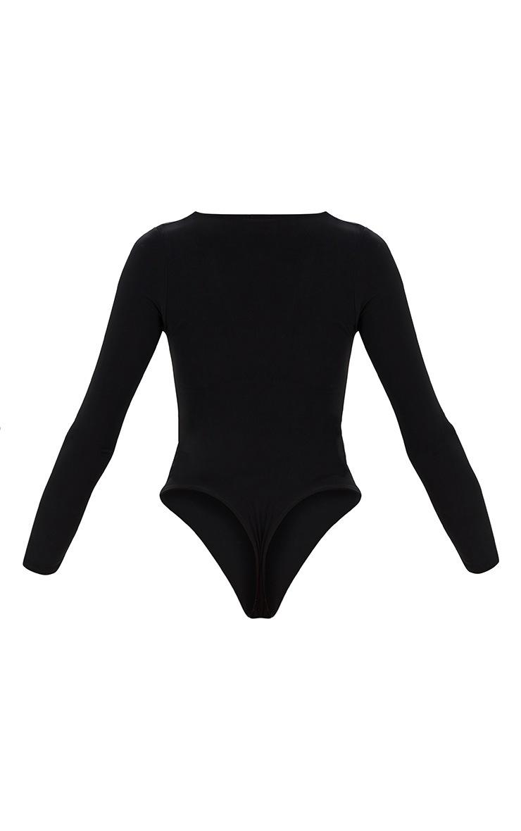 Black Deep V Slinky Bodysuit  4