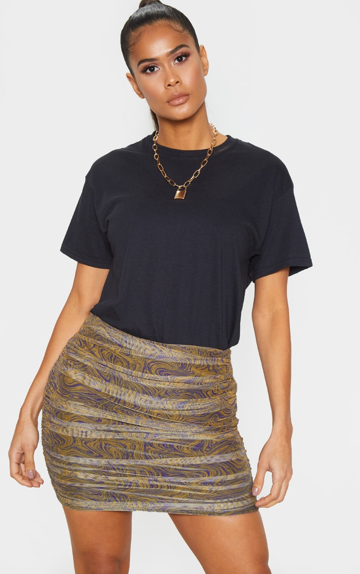 Mustard Geo Print Mesh Ruched Detail Mini Skirt  1