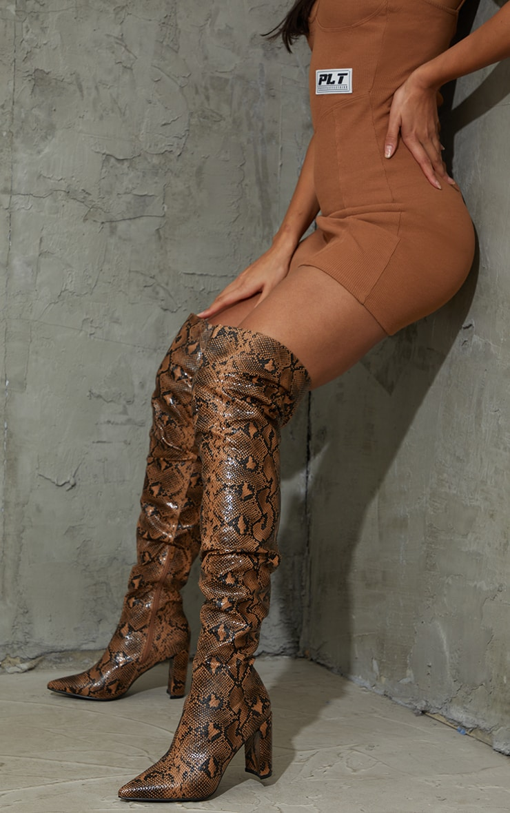 Chocolate Snake Point Toe Flat Heel Over The Knee Boots 1