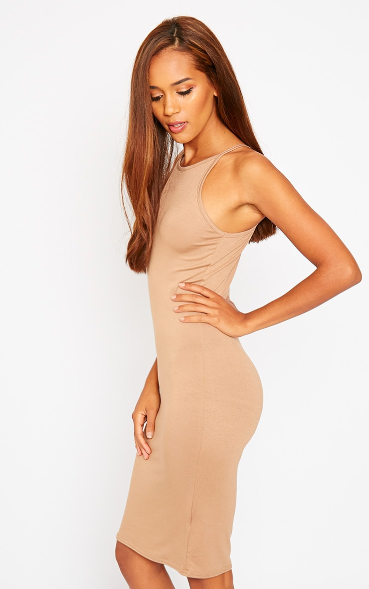Basic Camel Jersey Racer Neck Dress 4