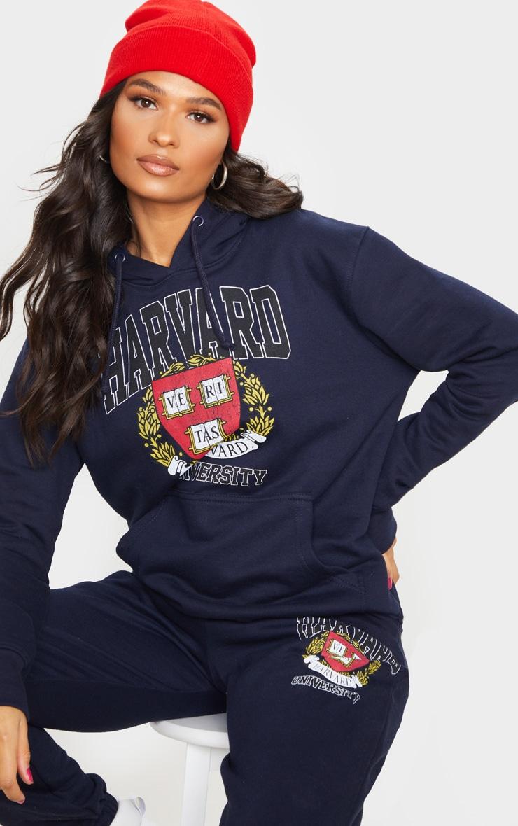 Navy Harvard Slogan Hoodie 1