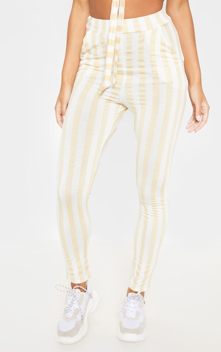 Nude Stripe High Waisted Skinny Trouser 2