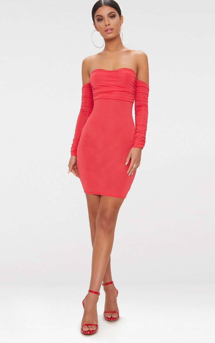 Red Ruched Front Ruched Arm Bardot Bodycon Dress 4