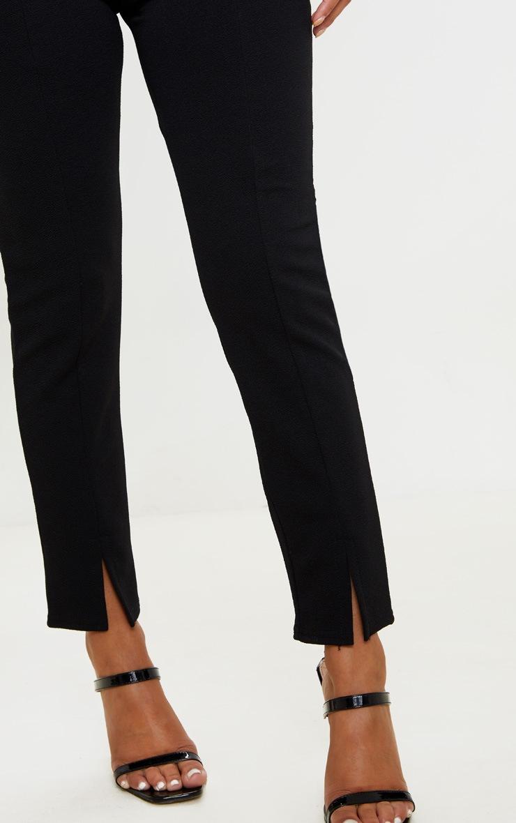 Petite - Pantalon taille haute noir en crêpe fendu 5