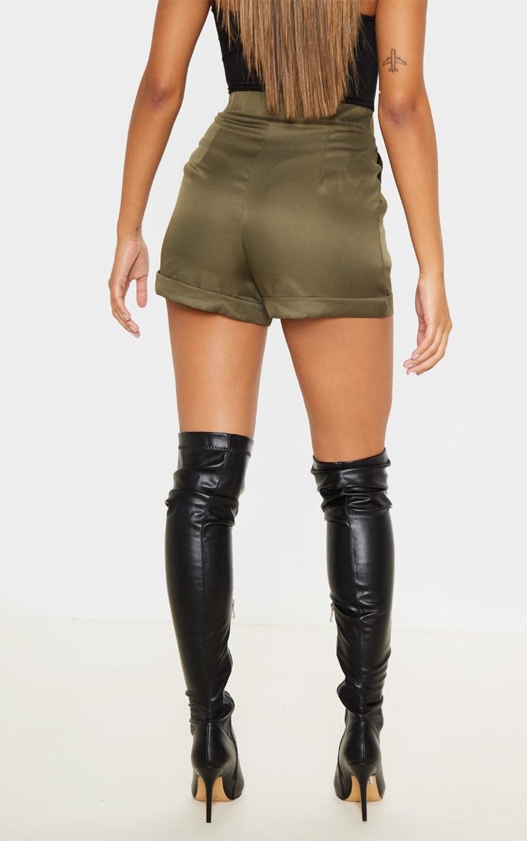 Olive Khaki Woven Belted Turn Up Hem Shorts 4