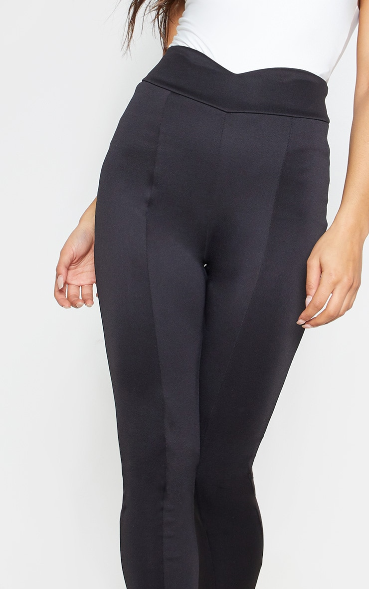 Black Scuba High Waisted V Detail Seamed Legging 6