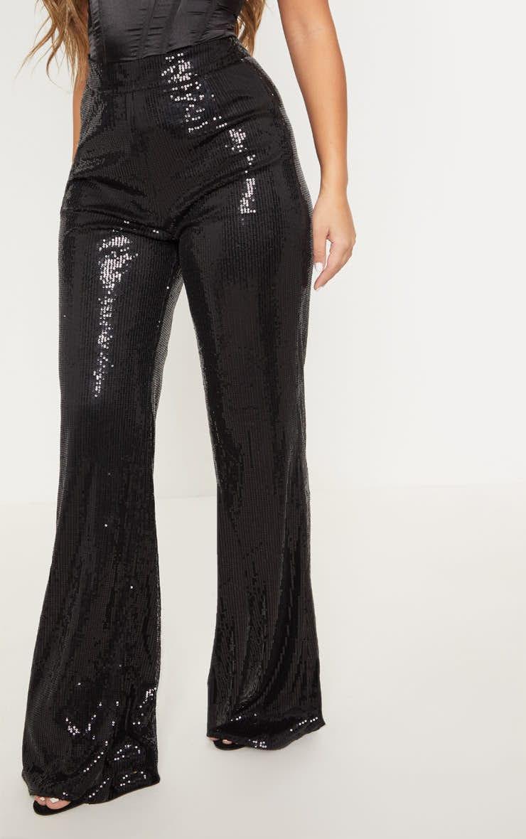 Black Sequin Wide Leg Trouser 2