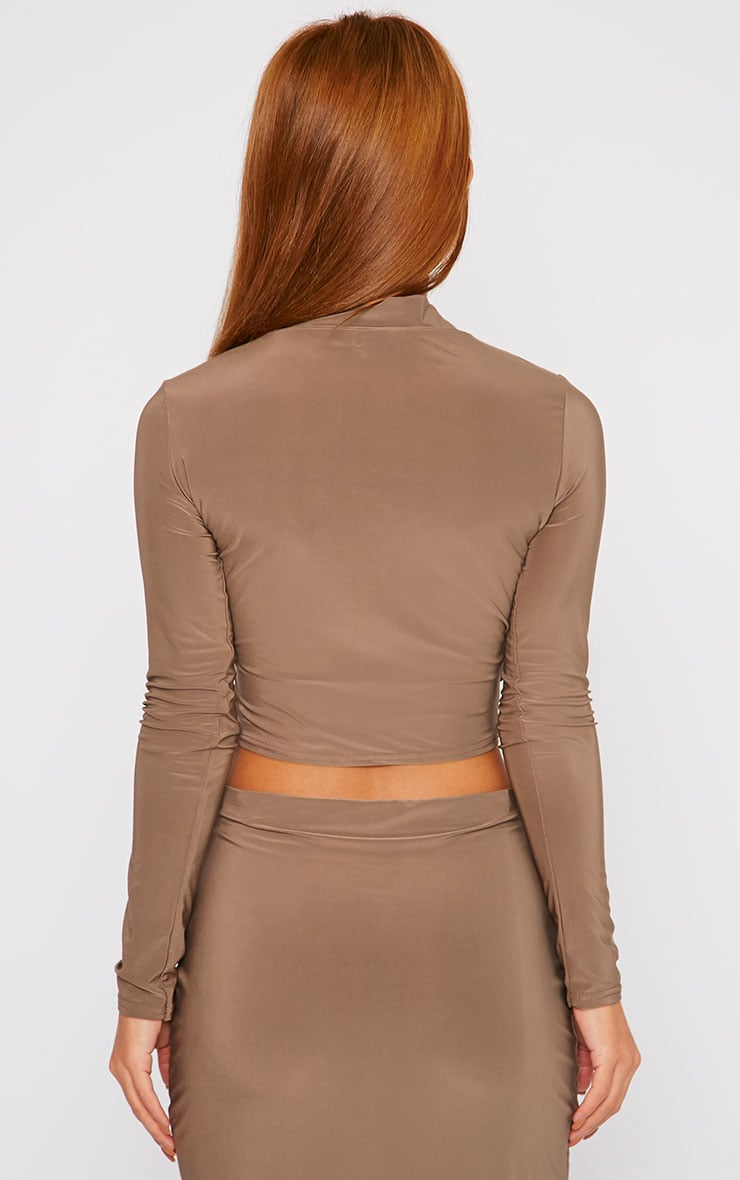 Siobhan Mocha Slinky High Neck Open Front Crop Top 2