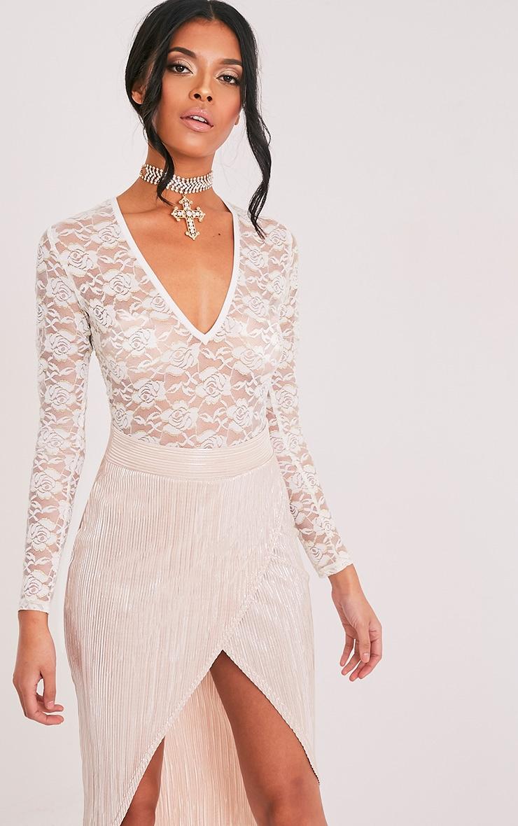 Philippa Cream Metallic Lace Sheer V Neck Thong Bodysuit 1