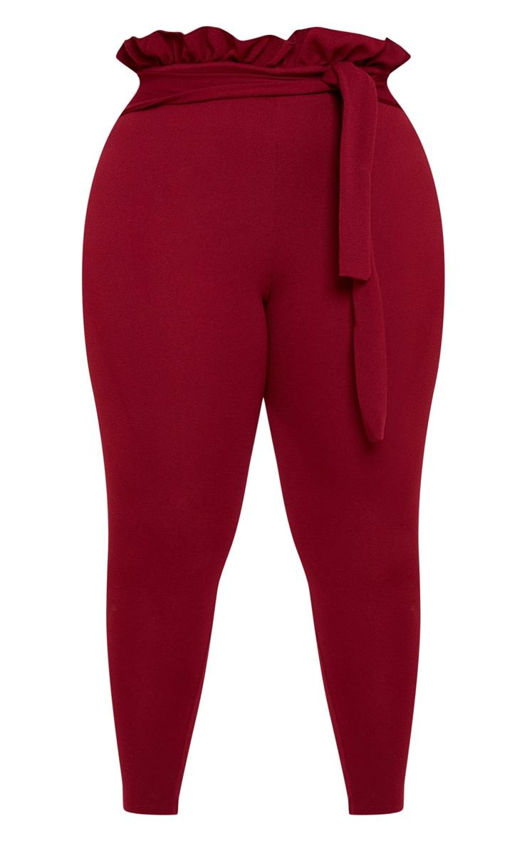 Plus Burgundy  Paperbag Skinny Pants 3
