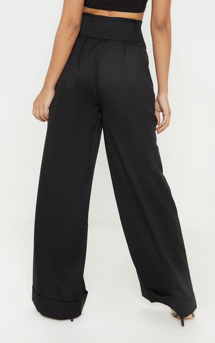 Petite Black Paperbag Pleated Wide Leg Pants 4