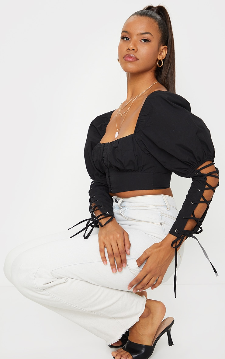 Black Woven Square Neck Lace Up Sleeve Detail Crop Top 3