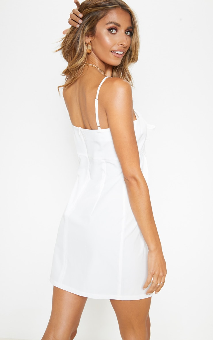 White Tie Front Woven Shift Dress 2