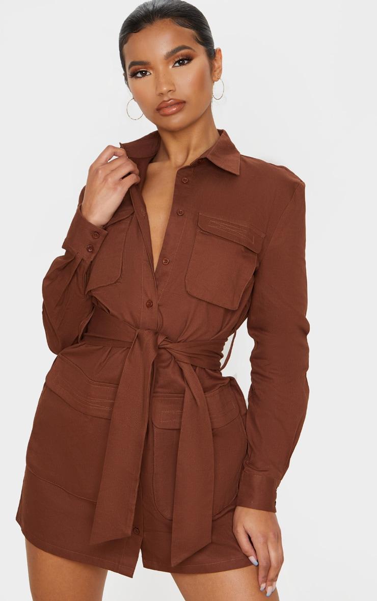Chocolate Utility Tie Waist Shirt Dress 3