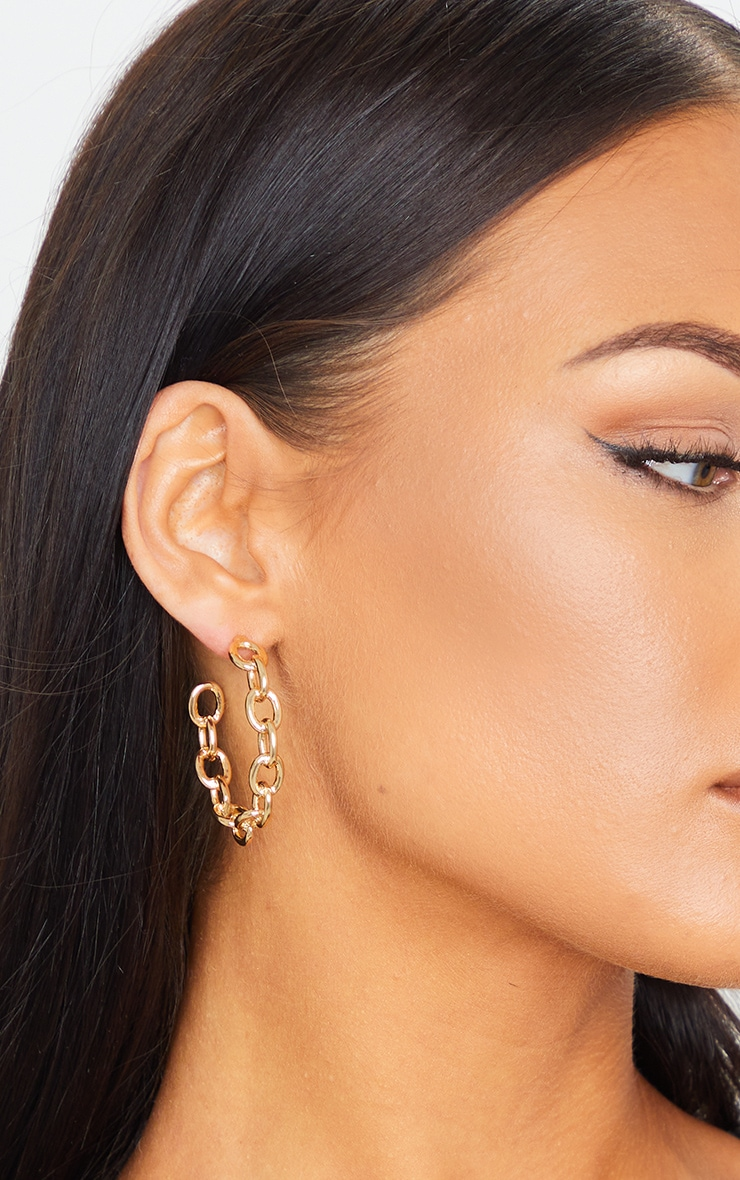 Gold Small Chain Hoop Earrings 1