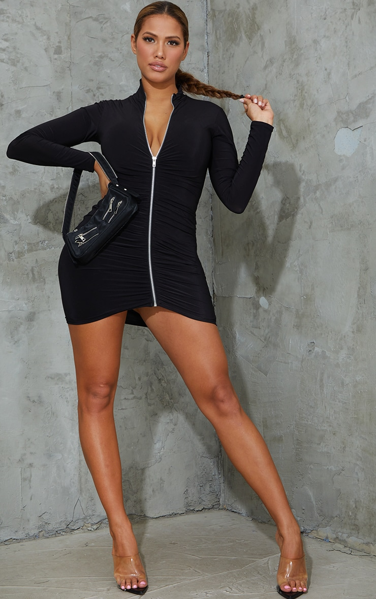 Shape Black Slinky Zip Front Collar Detail Bodycon Dress 3