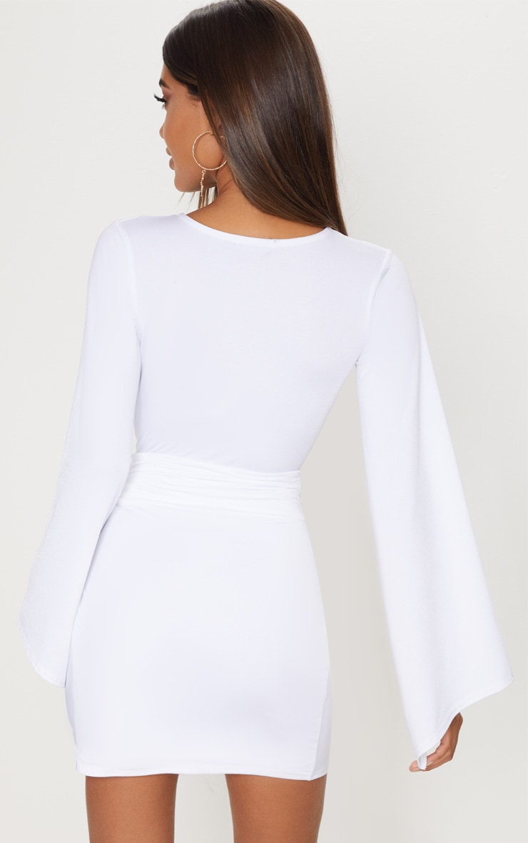White Drape Sleeve Plunge Extreme Split Leg Bodycon Dress 2