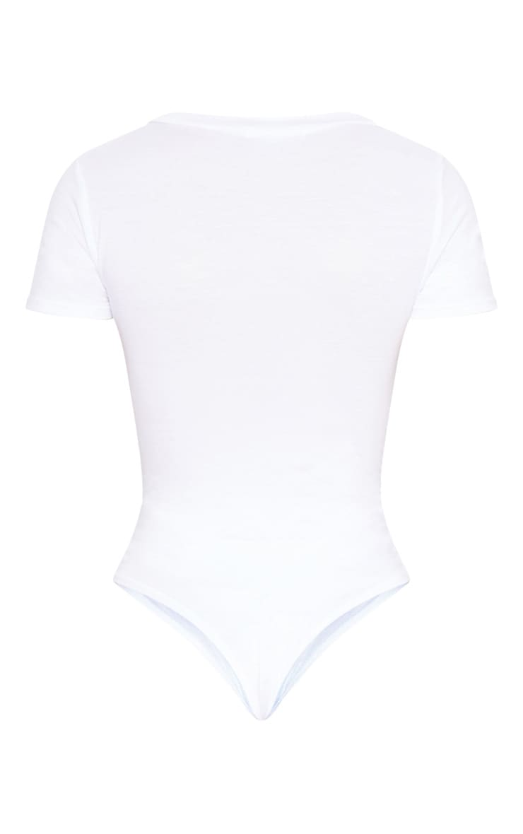 White Jersey Plunge Short Sleeve Thong Bodysuit  4