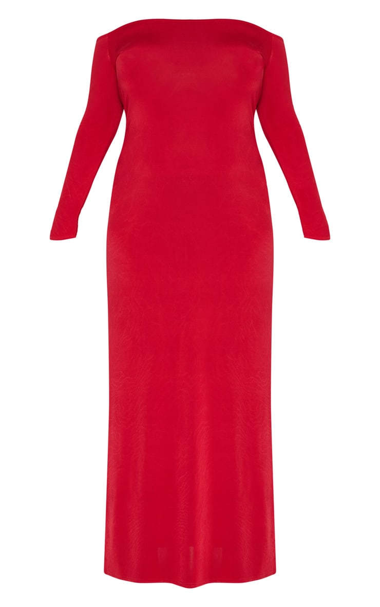 Plus Red Slinky Bardot Maxi Dress 3