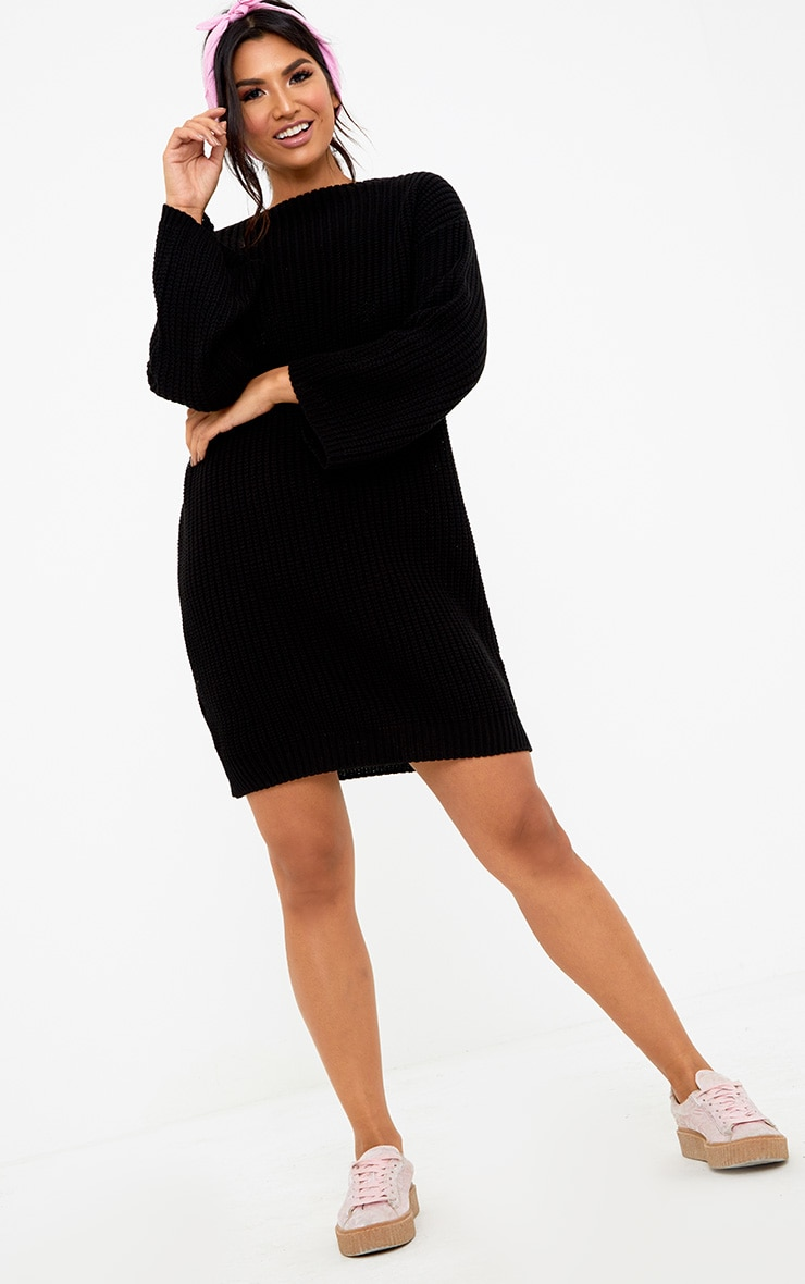 Black Chunky Knit Flute Sleeve Jumper 4
