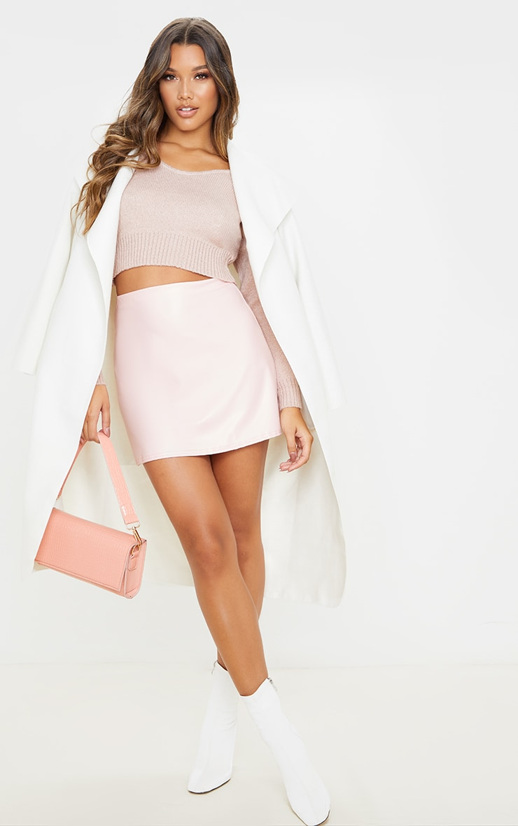 Rose Pink Faux Leather A Line Skirt 5