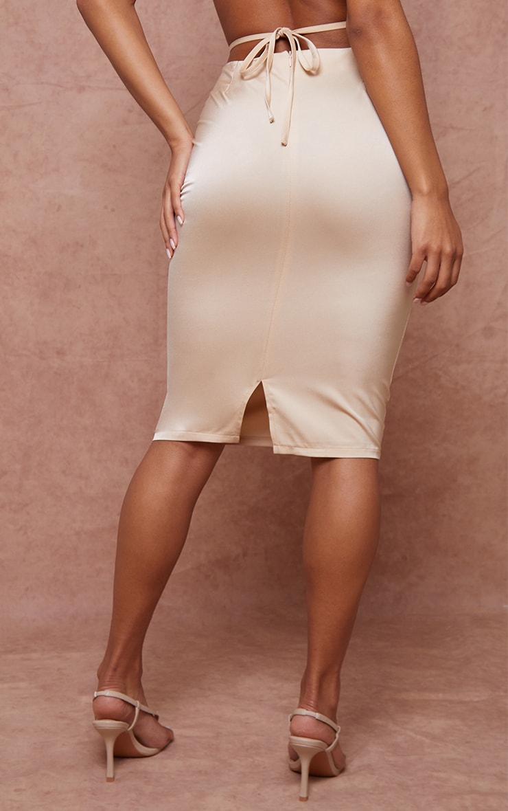 Champagne Woven Tie Waist Midi Skirt 3