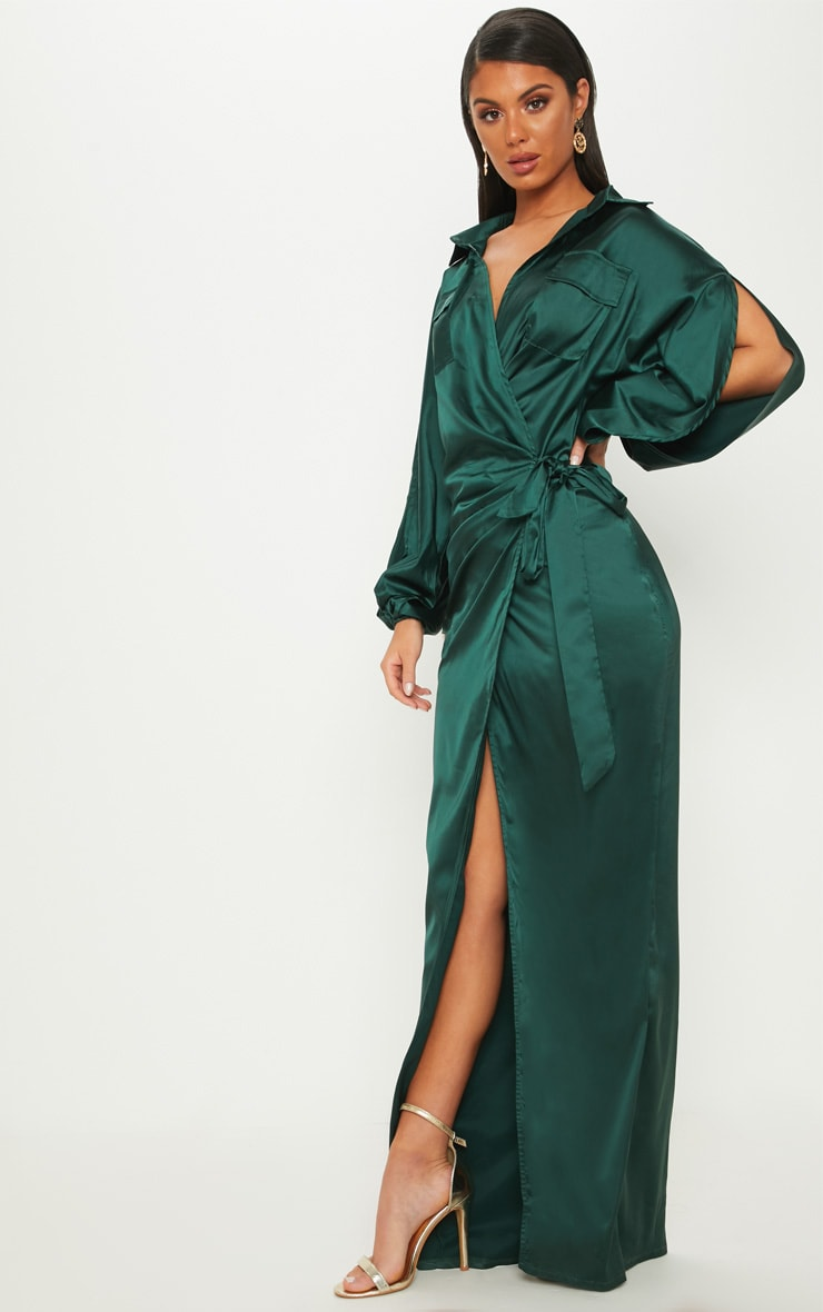 Emerald Green Satin Pocket Detail Drape Maxi Dress by Prettylittlething