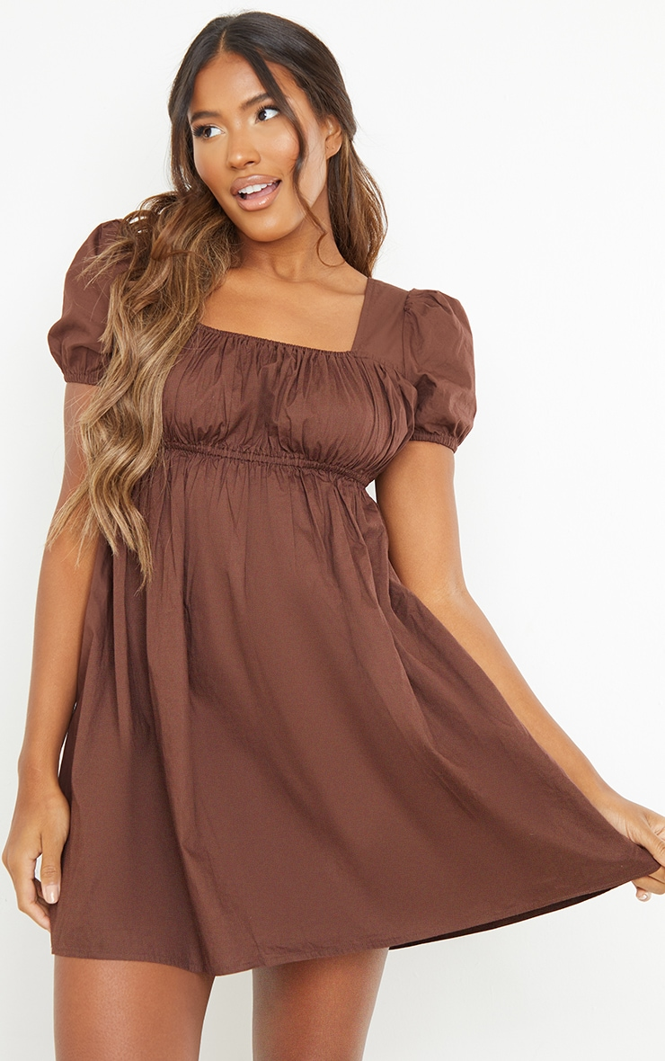 Chocolate Ruched Bust Short Sleeve Square Neck Shift Dress 3