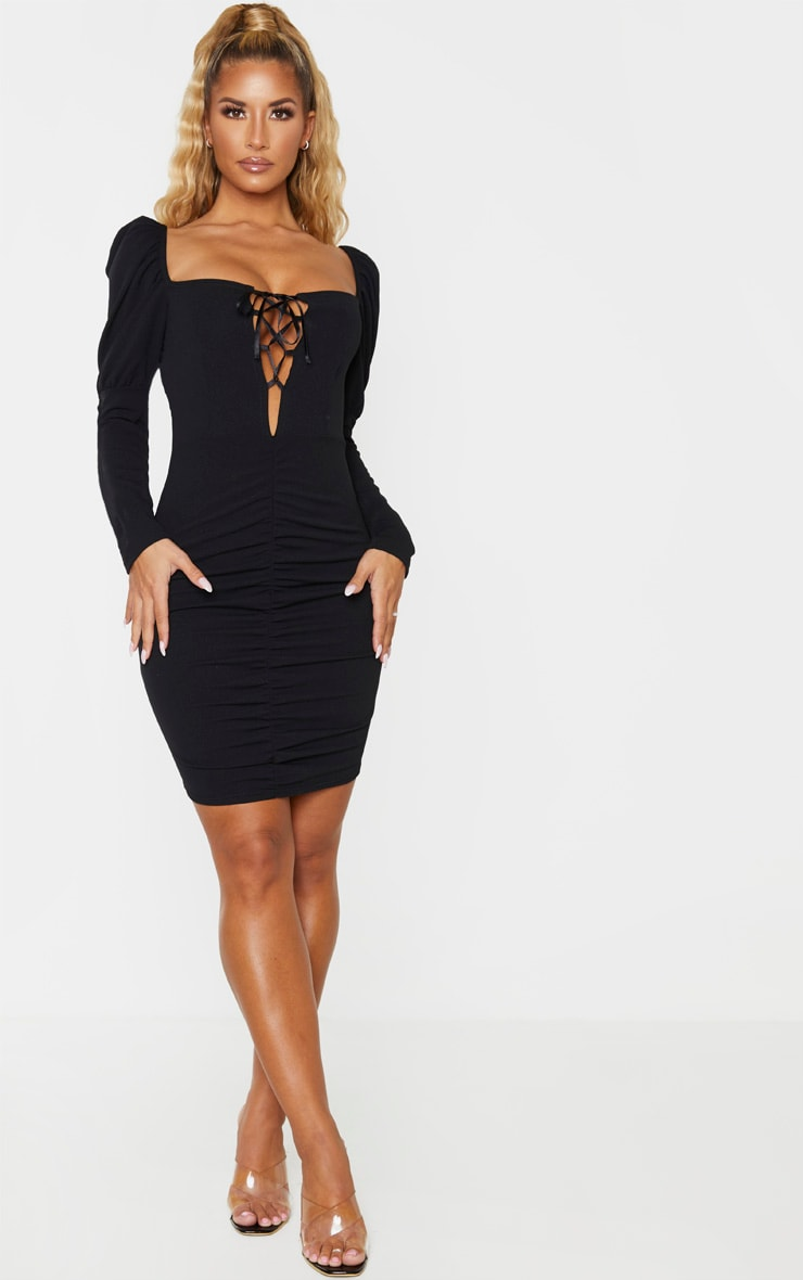 Black Long Puff Sleeve Ruched Lace Up Bodycon Dress 4