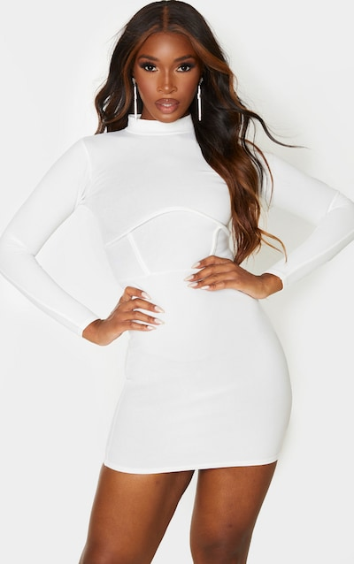 White High Neck Binding Detail Bodycon Dress