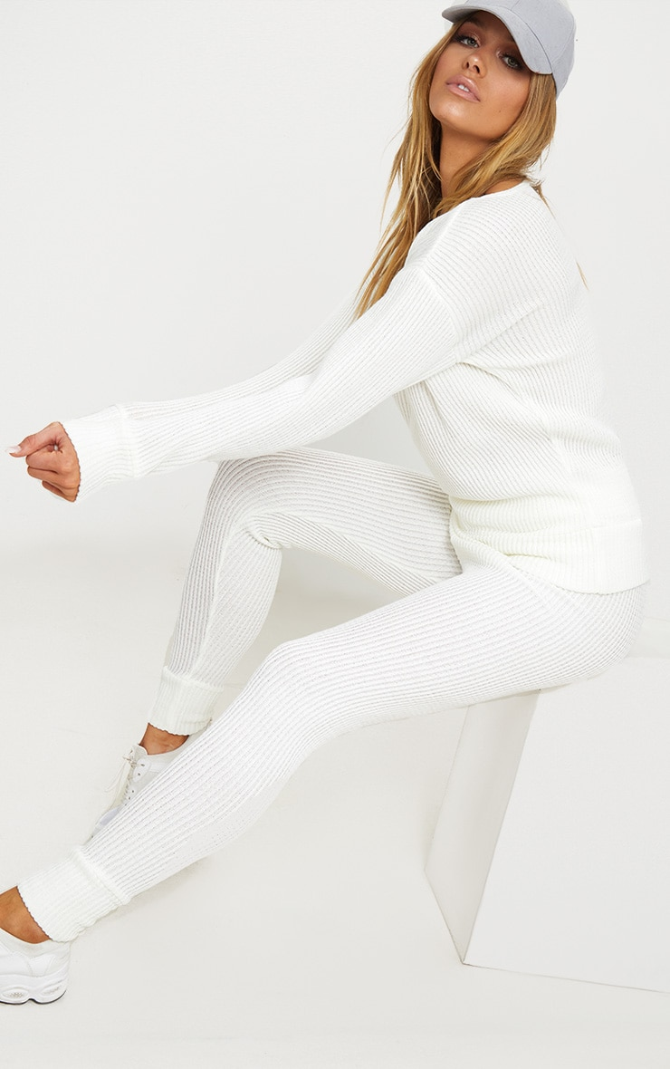 Cream Knitted Rib Jogger Co Ord 1