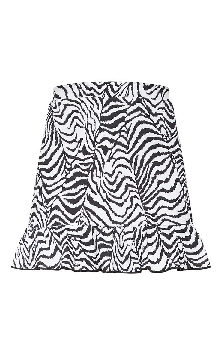 Zebra Print Frill Hem Mini Skirt 6