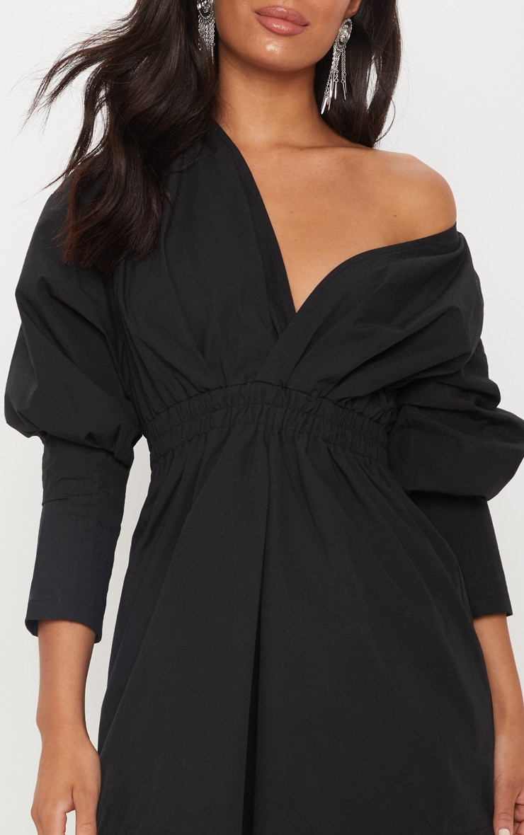 Black Plunge Ruched Shirt Dress 5