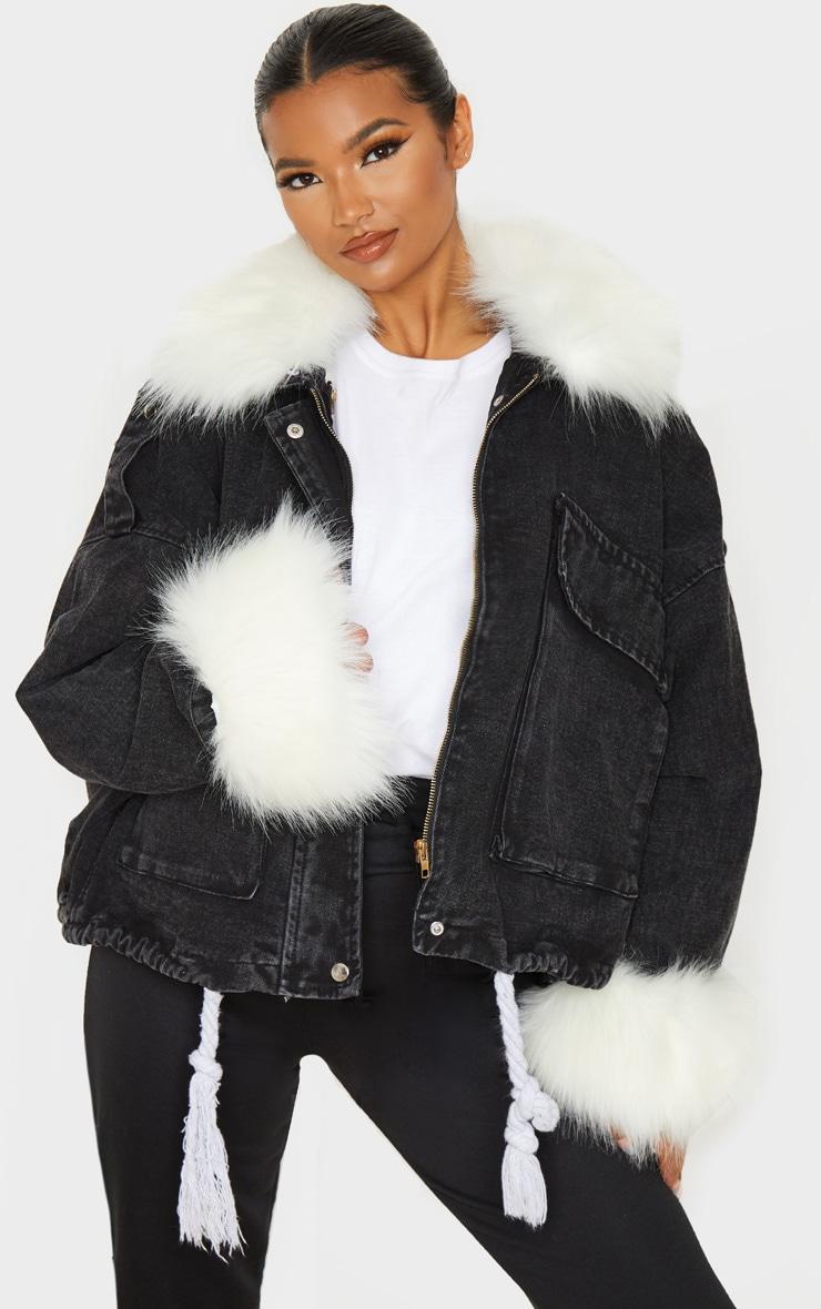 Black Faux Fur Trim Denim Jacket 1