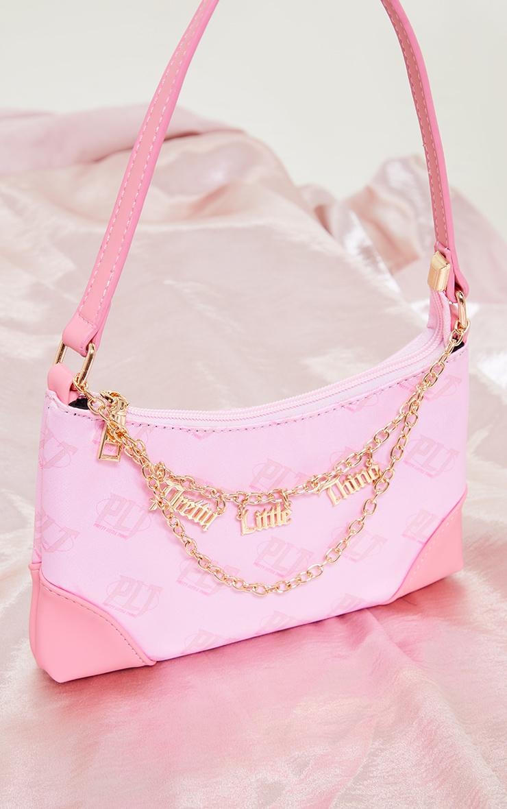 PRETTYLITTLETHING Pink Monogram Gold Chain Shoulder Bag 1