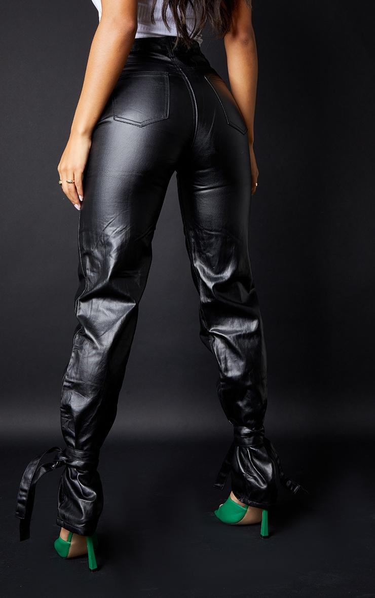 Black Tied Hem Coated Straight Leg Jean 3