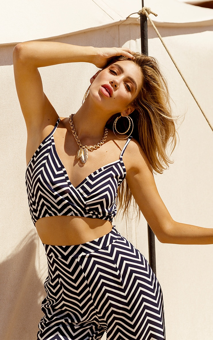 Navy Chevron Print Crop Top