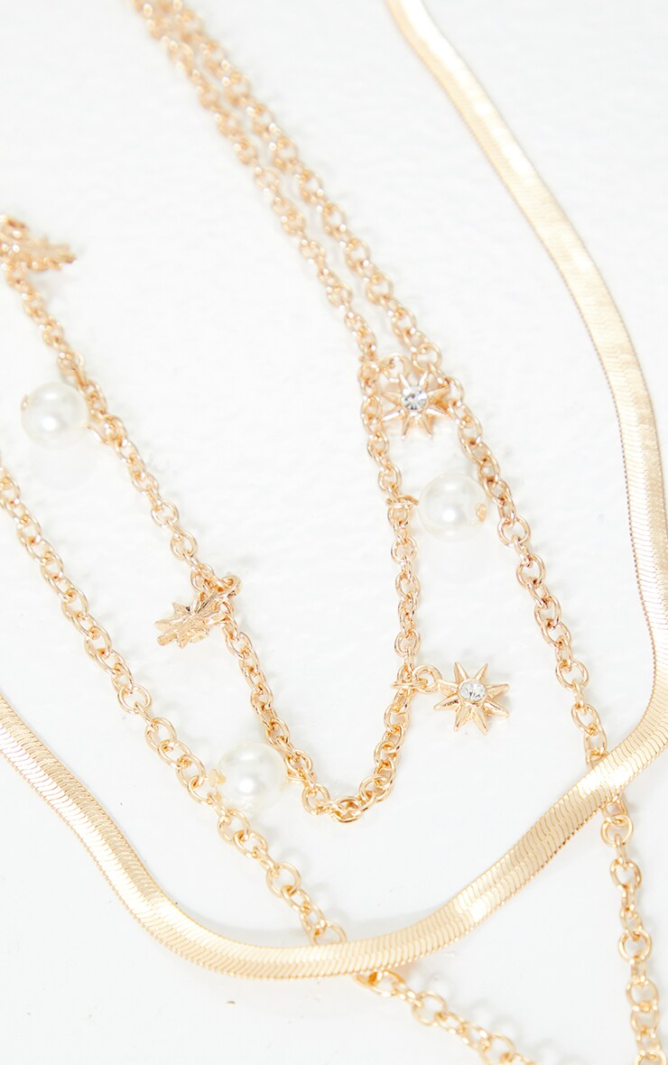Gold Pearl And Snake Layering Necklace 4