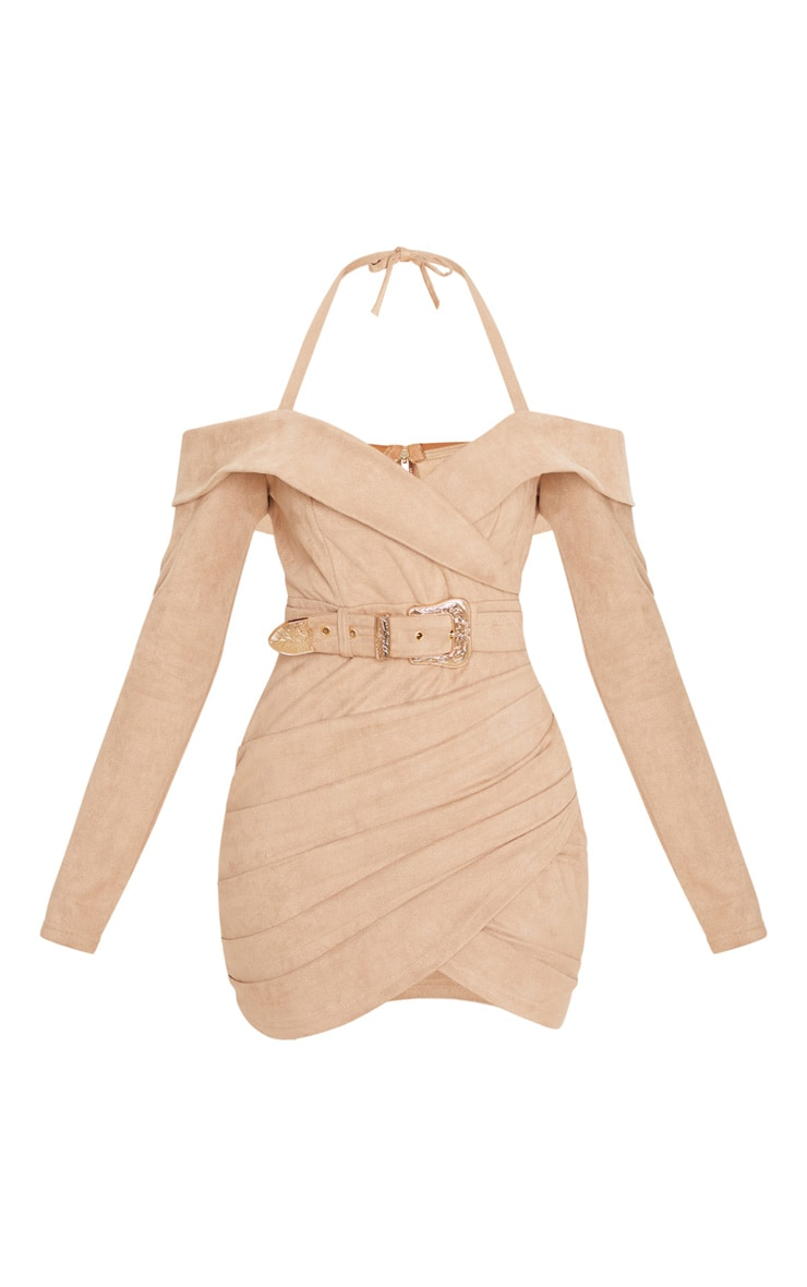 Stone Faux Suede Bardot Dress 3