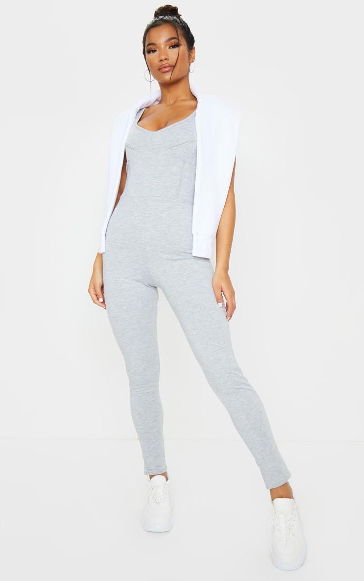 Grey Marl Soft Binding Detail Sleeveless Jumpsuit 3