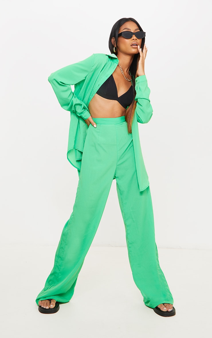 Bright Green Wide Leg Trousers 1