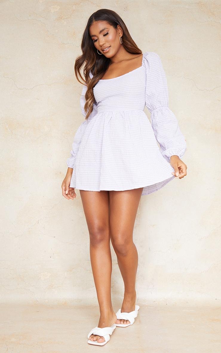 Lilac Textured Gingham Balloon Sleeve Shift Dress 3