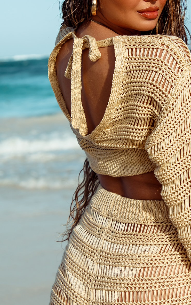 Stone Balloon Sleeve Open Stitch Ladder Detail Cropped Sweater 4